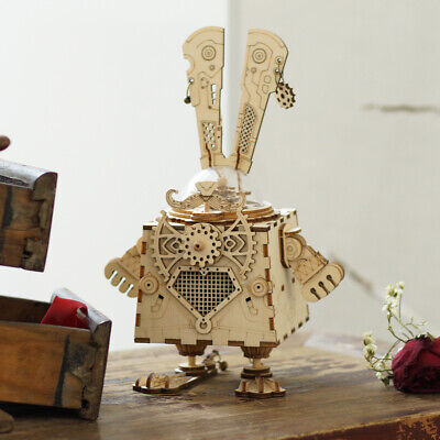 ROKR DIY Wooden Model Building Kits Toy Bunny Mechaincal Music Box Gift for Kids](Building Kits For Kids)
