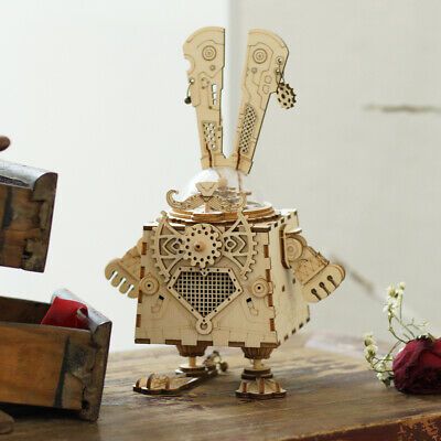 Bunny Toys Diy (ROKR DIY Wooden Model Building Kits Toy Bunny Mechaincal Music Box Gift for)