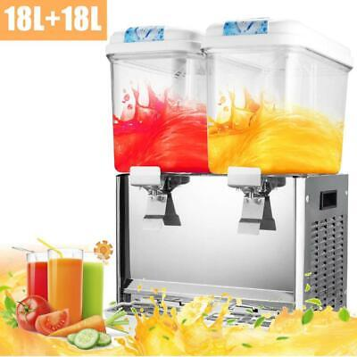 18L x 2 Tank Commercial Juice Beverage Dispenser Machine Cold Frozen Ice Drink