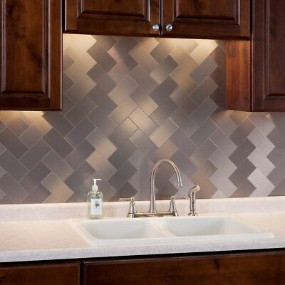 Aspect Peel and Stick Backsplash 3inx6in Brushed Metal Tile (8