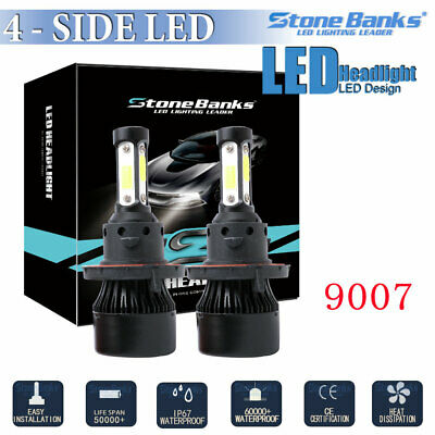 4side 360 9007 HB5 COB LED Headlight Kit High Low Beam Bulb 120W 32000LM White