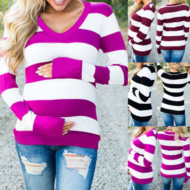 Women Pregnancy Long Sleeve T Shirt Striped Tops Blouse Casu