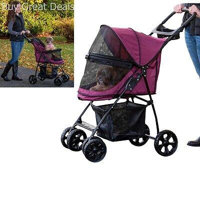 Large Pet Stroller Gear Cat Dog No Zip Travel Carrier Happy Cart Wheel Folding