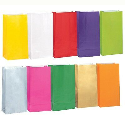 Plain Solid Color Paper Birthday Party Loot Favor Treat Gift Bags