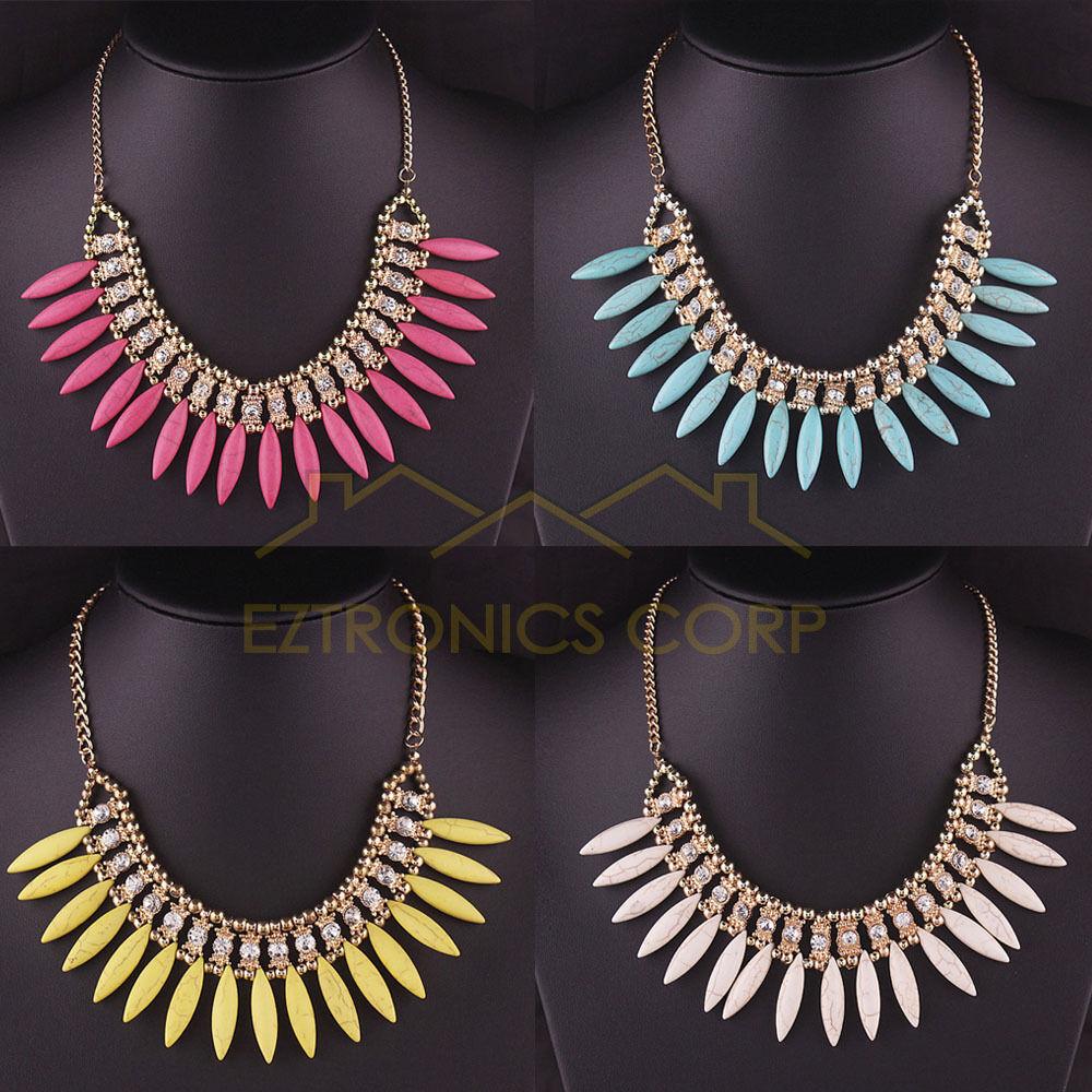 $5.99 - New Women Fashion Crystal Pendant Chain Choker Chunky Statement Bib Necklace