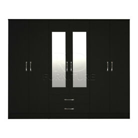 Cornwall model 4, 216cm wide 6 door black wardrobe