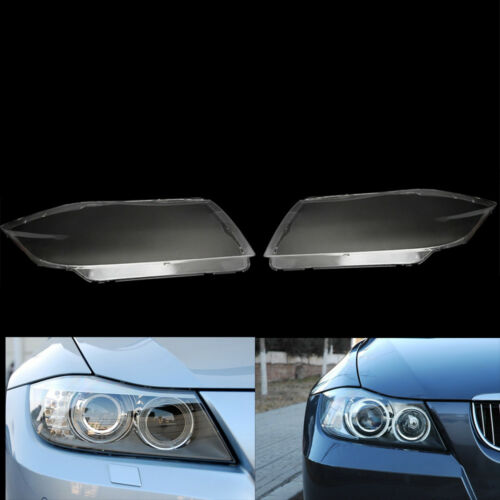 Pair Front Clear HID Headlight Headlamp Lens Cover For BMW 3 Series E90 05 - 12