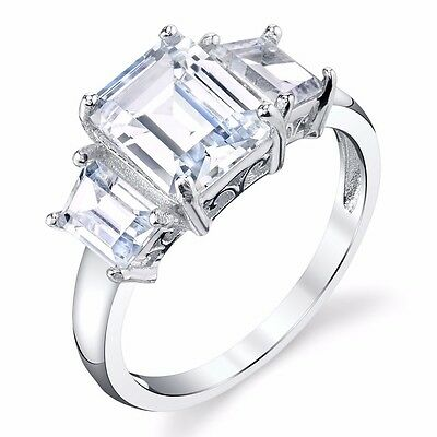 3 Carat 3 Stone Emerald Cut Modern Contemporary Sterling Engagement Wedding Ring ()
