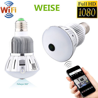 Mini 1080P 360° WIFI HD Hidden Spy Camera Light Bulb Wireless Video Recorder Cam