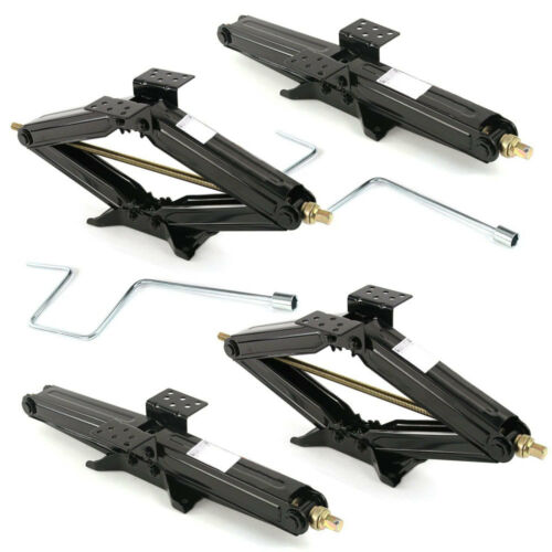 "Set of 4 5000 lb 24"" RV Trailer Stabilizer Leveling Scissor Jacks with 2 handle"
