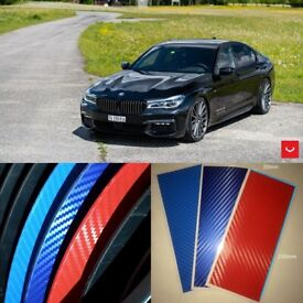 Waterproof M Stripe Decal Sticker Race Carbon Fiber for BMW Exterior Decor