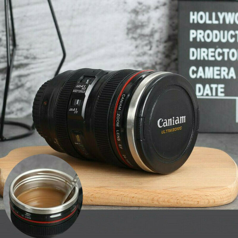 24-105 Camera Lens Cup Coffee Travel Mug Thermos Stainless Steel Leak-Proof Lid