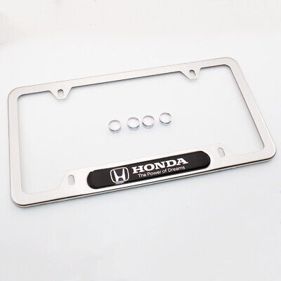 For Honda The Power of Dreams License Frame Plate Cover Stainless Steel Chrome