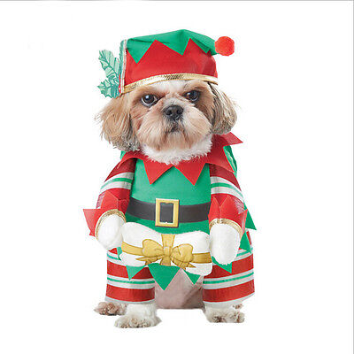Puppy Dog Pet Clothes Christmas Outwear Coat Santa Claus Costume Hoodie Apparel