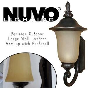 NEW Nuvo Lighting 60/2507 Parisian Outdoor Large Wall Lantern Arm up with Photocell, Champagne Glass, Old Penny Bronz...