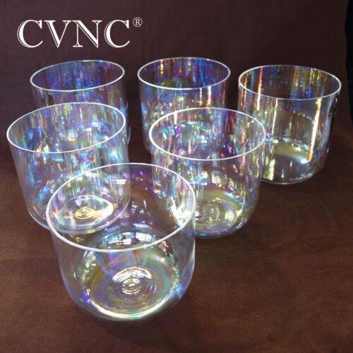 All 6 inch Cosmic Light Clear Chakra Quartz Crystal Singing Bowl CDEFGAB