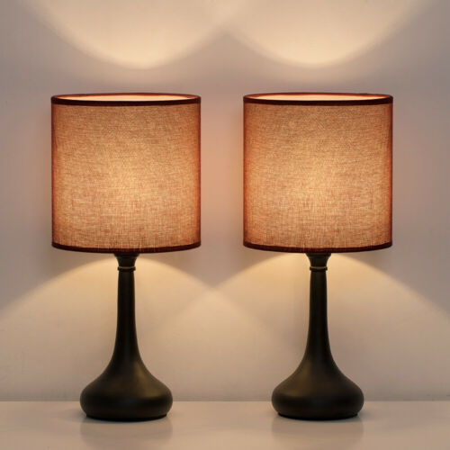 Set of 2 Bedside Table Lamps Wine Red Line Fabric Lampshade