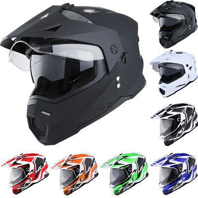 Dual Sport Dual Visor Motorcycle Motocross Full Face Helmet Black Blue Red -
