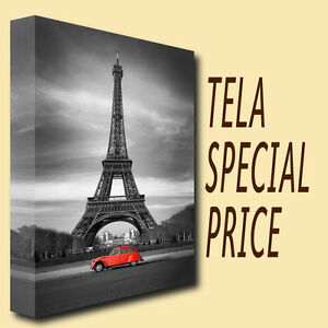 QUADRI-MODERNI-TELA-30X50-TORRE-EIFFEL-ARTE-AUTO-D-039-EPOCA-RED-BLACK-AND-WHITE