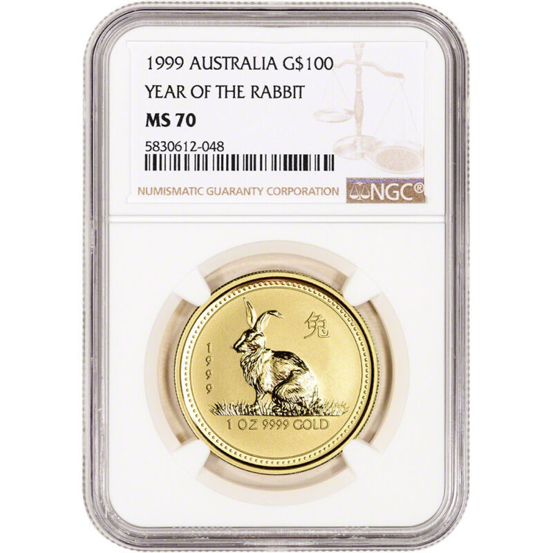 1999 Australia Gold Lunar Series I Year of the Rabbit 1 oz $100 - NGC MS70