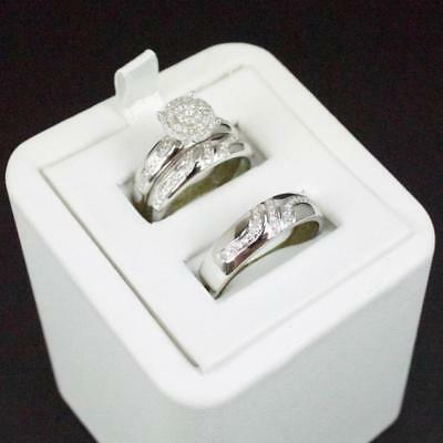 14k White Gold Fn His & Her Diamond Engagement Bridal Wedding Band Trio Ring Set 14k Diamond Trio Set