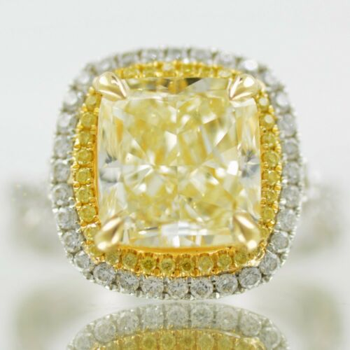 Double Halo GIA 2 Tone Fancy Yellow 3.10 CT Cushion Cut Diamond Engagement 18k