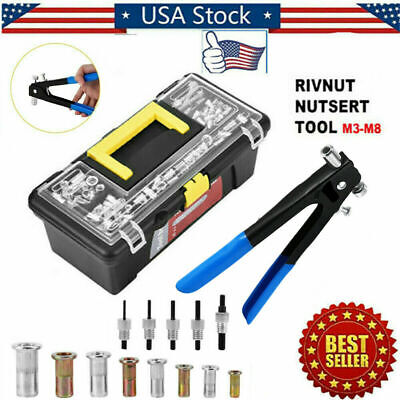 Heavy Duty Threaded Rivet Nut Tool Gun Riveter Rivnut Nutsert Riveting Kit M3-m8