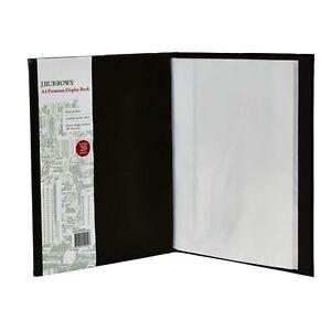 J.Burrows Display Book A4 20 Pocket Fixed Hard Cover Black