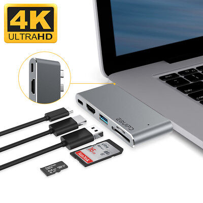 Aluminum Usb Type C 5In1 4K Hdmi Hub Adapter Card Reader Usb 3 For Macbook Pro