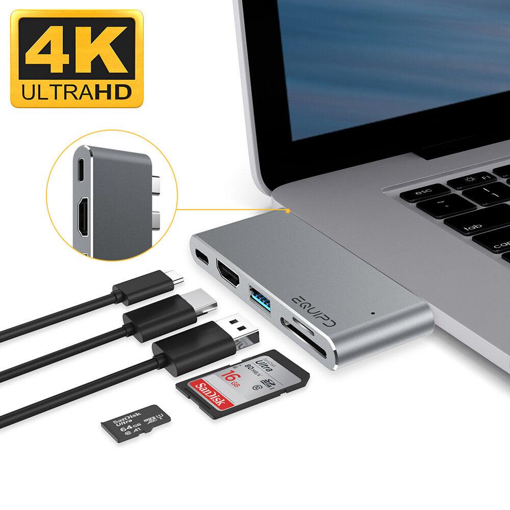 Aluminum USB Type-C 5in1 4K HDMI Hub Adapter Card Reader USB