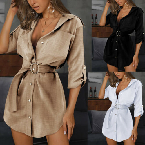 Sexy Damen Shirtkleid V-Neck Minikleid Hemdkleid Clubwear Longtop Business Slim