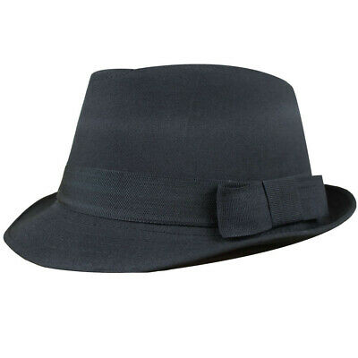 BLACK TRILBY HAT GANGSTER UNISEX CLASSIC BLUES AL CAPONE 1920S FANCY DRESS