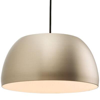 Hanging Ceiling Pendant Light –MATT NICKEL– Round Metal Lamp Shade Bulb Holder