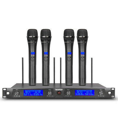 Wireless Microphone System Pro Audio UHF 4 Channel 4 Handheld Metal Dynamic Mic Dynamic Handheld Microphone Audio