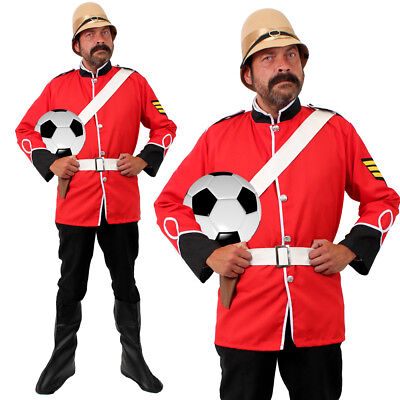 MENS BOER WAR BRITISH SOLDIER WORLD CUP COSTUME ENGLAND MILITARY FANCY DRESS RED