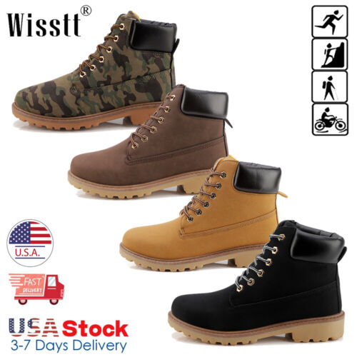 Men's Waterproof Leather Work Boots Outdoor Lace Up Water Bo