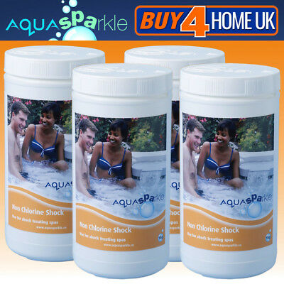 4 x Aquasparkle 1kg Non-Chlorine Shock Granules Hot Tub Spa Pool Chemicals