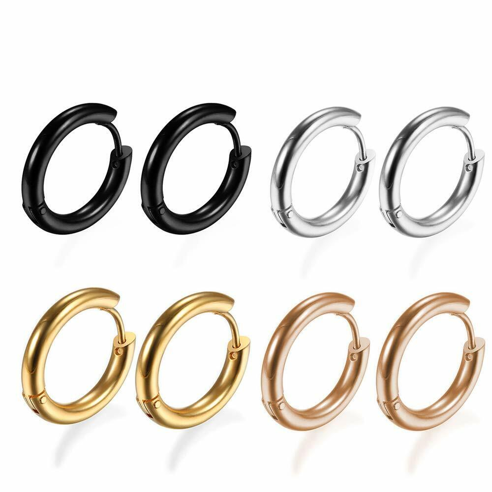 4Pairs 316L Stainless Steel Hoop Earrings for Men Women Hypo