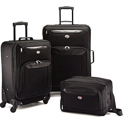 American Tourister Brookfield Black 3 Piece Luggage Set (2 Spinners, 1 Bag)