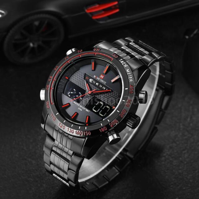 NAVIFORCE Mens Analog Digital LED Date Dual Time Army Sport Quartz Watch UK Post