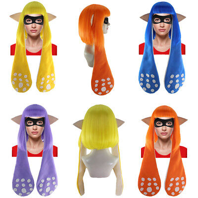 4 Colors Bob Wig and Ears with Mask Set Cosplay Splatoon Inkling Girl Party Hair - Wig Set