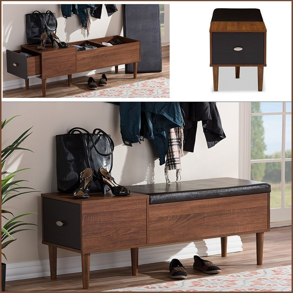 Entryway Storage Bench Mid-century Style Side Table Hallway