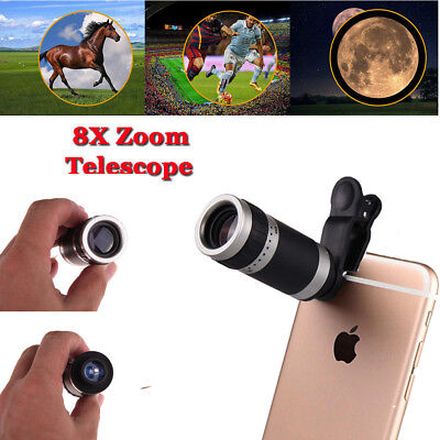 Clip-on 8x Optical Zoom HD Telescope Camera Lens Universal Cell Phone iPhone THC