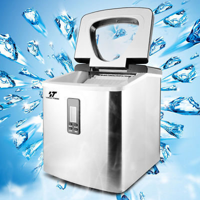 3.2L 33 lbs/24h Ice Cube Portable Stainless Steel IceMaker Clear Countertop Home
