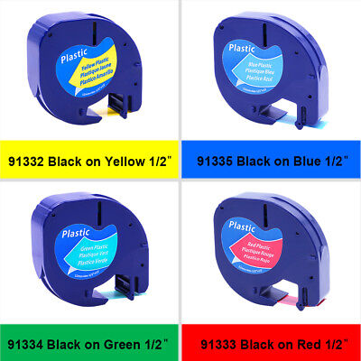 4pk Compatible For Dymo Lt 12 Plastic Letratag Refill Color Label Tapes 91332
