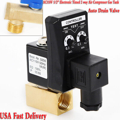 Ac110v 12 Electronic Timed 2 Way Air Compressor Gas Tank Auto Drain Valve 90 C