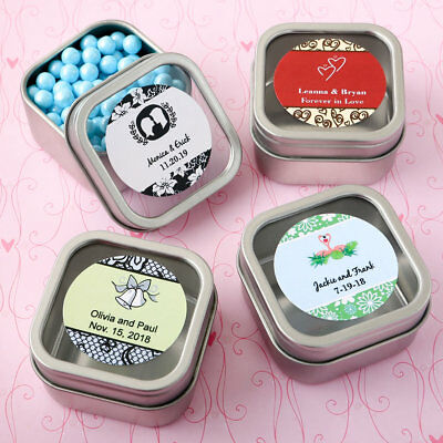 45-200 Personalized Silver Square Mint Tin w/ Clear Lid - Wedding Shower Favors