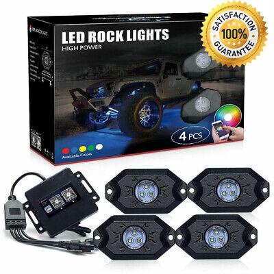 4 Pod RGB LED Rock Lights Offroad Music Wireless Bluetooth Control ATV UTV RZR