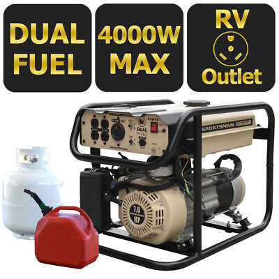 Sportsman 4000-w Portable Hybrid Dual Fuel Gas Generator Home Backup Rv Camping