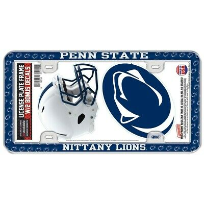 PENN STATE NITTANY LIONS THIN RIM LICENSE PLATE FRAME WITH 2 DECALS NEW WINCRAFT Nittany Lions License Plate Frame